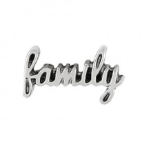 Silver Scripted Family Charm