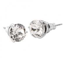 CLASSIC SILVER STUD EARRINGS WITH SWAROVSKI CRYSTAL
