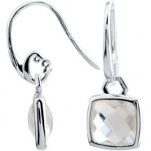 SILVER CUSHION CUT DROP EARRINGS