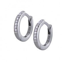 STERLING SILVER PETITE PAVÉ CUSTOM HOOP EARRINGS