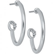 SILVER CUSTOMIZABLE O2 HOOP EARRINGS