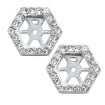SILVER PAVÉ HEXAGON HALO EARRINGS