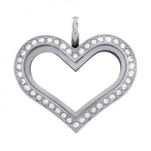 MEDIUM SILVER HEART LIVING LOCKET WITH SWAROVSKI CRYSTALS